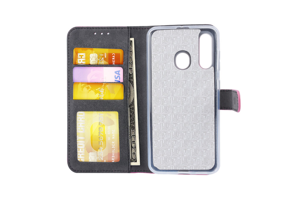 Samsung Galaxy M40 Pasjeshouder Hot Pink Booktype hoesje - Magneetsluiting - Kunstleer; TPU
