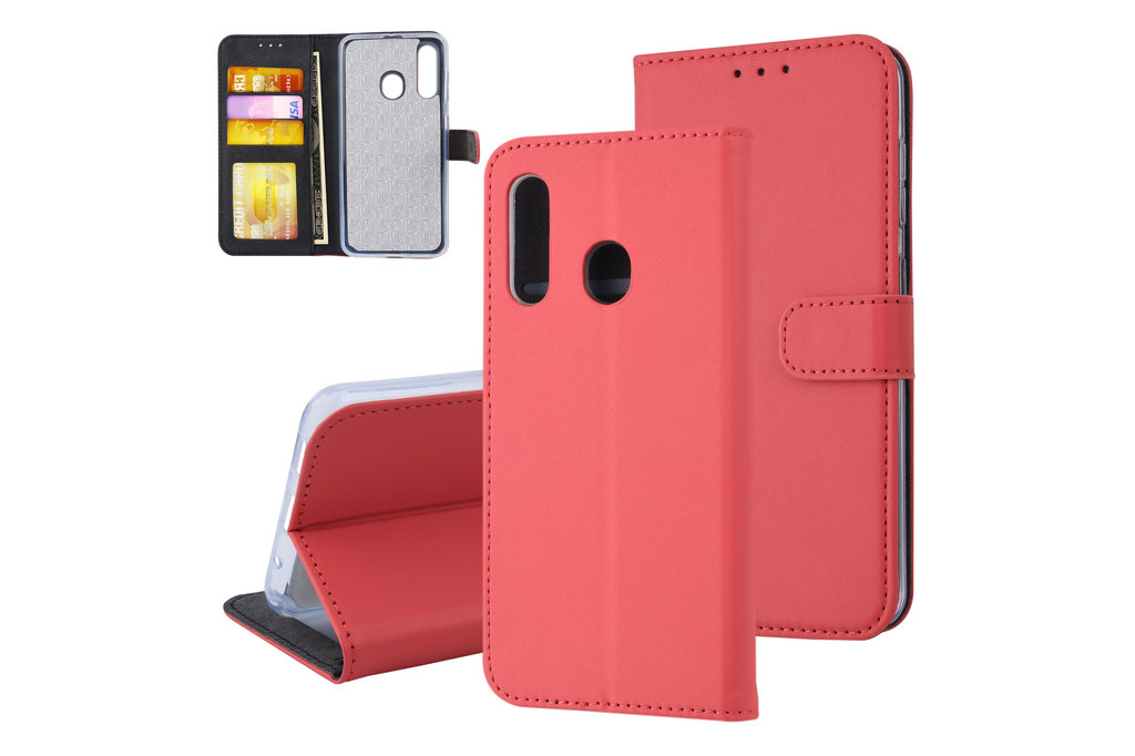 Samsung Galaxy M40 Pasjeshouder Rood Booktype hoesje - Magneetsluiting - Kunstleer; TPU