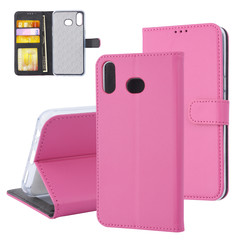 Samsung Galaxy A6s Card holder Hot Pink Book type case for Galaxy A6s Magnetic closure