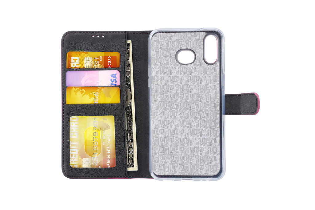 Samsung Galaxy A6s Pasjeshouder Hot Pink Booktype hoesje - Magneetsluiting - Kunstleer; TPU