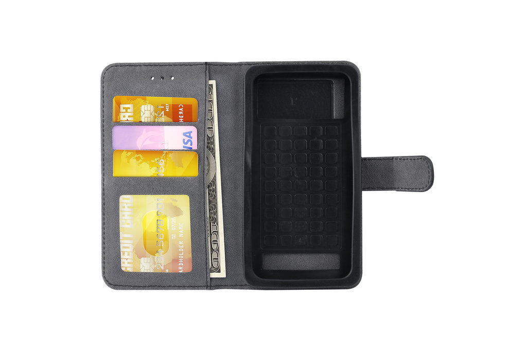 Universeel 4.5 inch Pasjeshouder Zwart Booktype hoesje - Magneetsluiting - Kunstleer; TPU