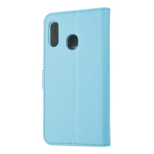 Andere merken Samsung Galaxy A20e Card holder L blue Book type case for Galaxy A20e Magnetic closure