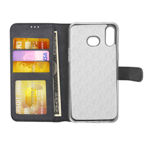 Andere merken Samsung Galaxy A6s Card holder Black Book type case for Galaxy A6s Magnetic closure