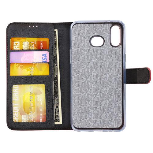 Andere merken Samsung Galaxy A6s Pasjeshouder Rood Booktype hoesje - Magneetsluiting - Kunstleer; TPU