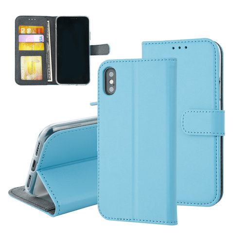 Andere merken Apple iPhone X/Xs Pasjeshouder L Blauw Booktype hoesje - Magneetsluiting - Kunstleer; TPU