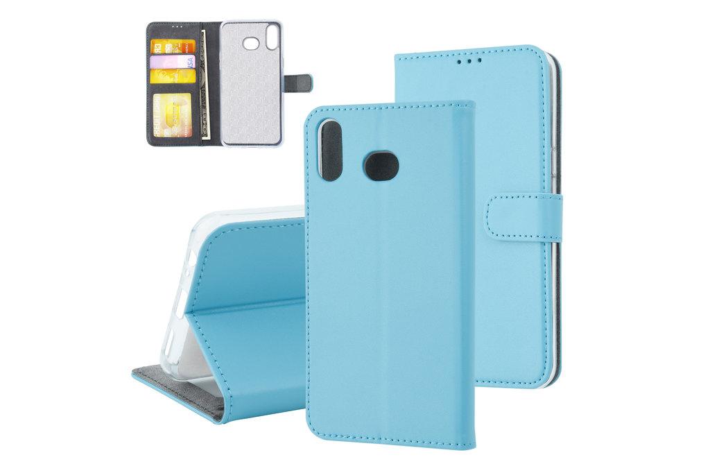 Samsung Galaxy A6s Pasjeshouder L Blauw Booktype hoesje - Magneetsluiting - Kunstleer; TPU