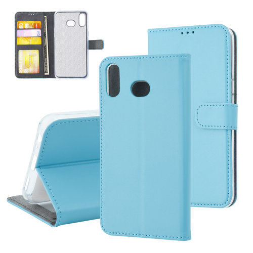 Andere merken Samsung Galaxy A6s Card holder L blue Book type case for Galaxy A6s Magnetic closure