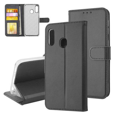 Andere merken Samsung Galaxy A20e Card holder Black Book type case for Galaxy A20e Magnetic closure