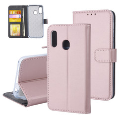 Samsung Galaxy A20e Pasjeshouder Rose Gold Booktype hoesje - Magneetsluiting - Kunstleer; TPU