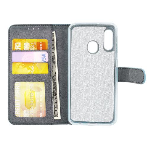 Andere merken Samsung Galaxy A20e Pasjeshouder L Blauw Booktype hoesje - Magneetsluiting - Kunstleer; TPU