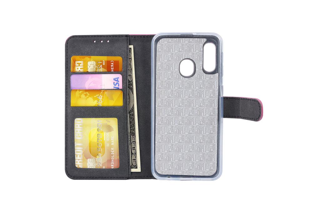 Samsung Galaxy A20e Pasjeshouder Hot Pink Booktype hoesje - Magneetsluiting - Kunstleer; TPU