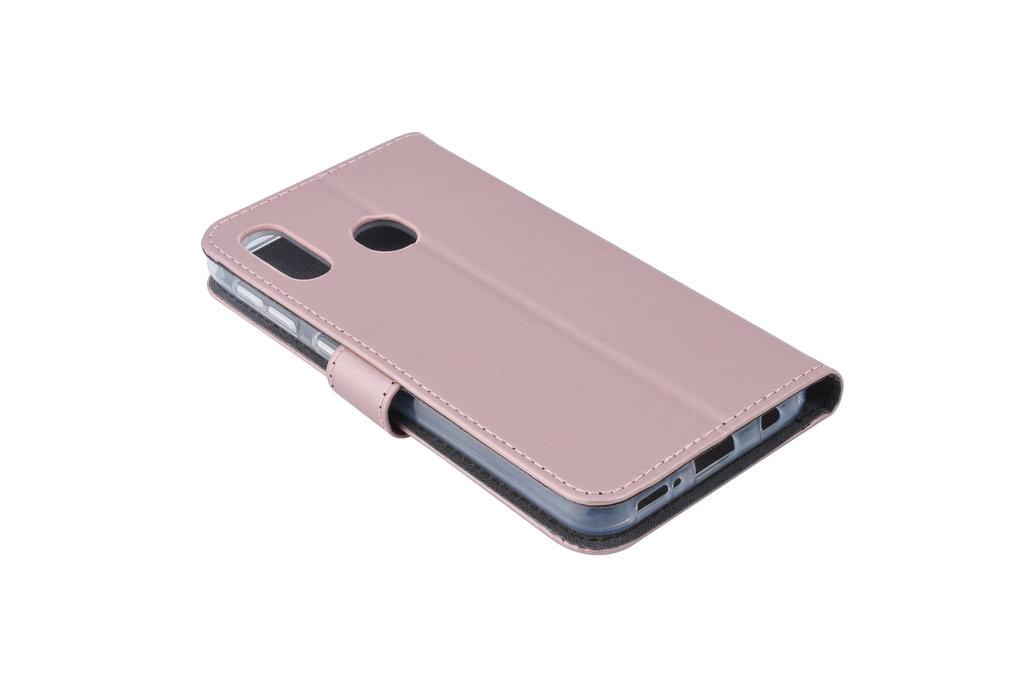 Samsung Galaxy A20e Pasjeshouder Rose Gold Booktype hoesje - Magneetsluiting - Kunstleer; TPU