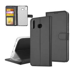 Samsung Galaxy A6s Pasjeshouder Zwart Booktype hoesje - Magneetsluiting - Kunstleer; TPU