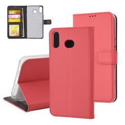 Samsung Galaxy A6s Titulaire de la carte Rouge Book type housse - Fermeture magnétique