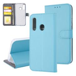 Samsung Galaxy M40 Pasjeshouder Kunstleer Booktype hoesje - Magneetsluiting - L Blauw