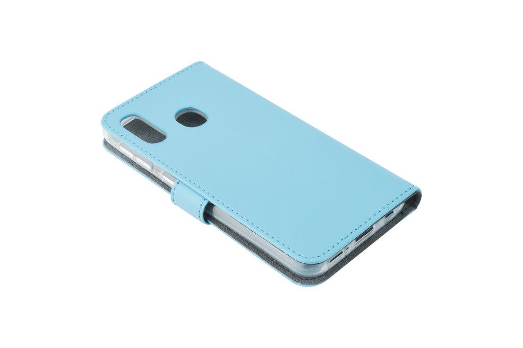 Samsung Galaxy A20e Pasjeshouder L Blauw Booktype hoesje - Magneetsluiting - Kunstleer; TPU