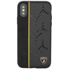 Lamborghini back cover case Samsung Galaxy S10+ Alcantara Yellow - Genuine Leather