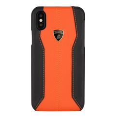 Lamborghini back cover case Apple iPhone XR D1 Serie Orange - Genuine Leather