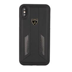Lamborghini back cover case Apple iPhone XR D6 Serie Black - Genuine Leather