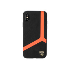 Lamborghini back cover case Samsung Galaxy S10+ D11 Serie Orange - Alcantara