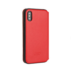 Audi booktype hoesje TT Serie Apple iPhone X-Xs Rood - Sythetic leather - Kunstleer; TPU