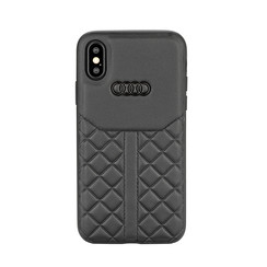 Audi backcover hoesje Q8 Serie Apple iPhone X-Xs Zwart - Genuine Leather - Echt leer