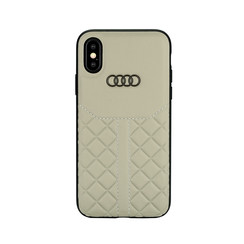 Audi backcover hoesje Q8 Serie Apple iPhone X-Xs Beige - Genuine Leather - Echt leer
