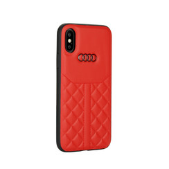Audi Back-Cover hul Apple iPhone X-Xs Q8 Serie Rot -Genuine Leather - Echt leer