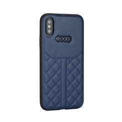 Audi backcover hoesje Q8 Serie Apple iPhone X-Xs Blauw - Genuine Leather - Echt leer