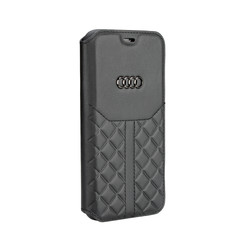 Audi Book-Case hul Apple iPhone X-Xs Q8 Serie Schwarz -Genuine Leather - Echt leer