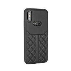 Audi backcover hoesje Q8 Serie Apple iPhone XR Zwart - Genuine Leather - Echt leer