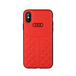 Audi Back-Cover hul Apple iPhone XR Q8 Serie Rot -Genuine Leather - Echt leer