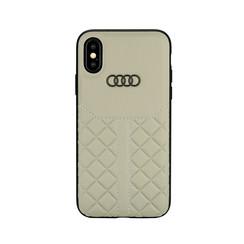 Audi back cover case Apple iPhone Xs Max Q8 Serie Beige - Genuine Leather