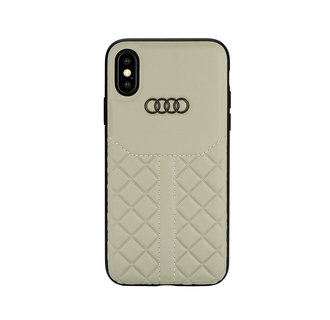 Audi backcover hoesje Q8 Serie Apple iPhone Xs Max Beige - Genuine Leather - Echt leer