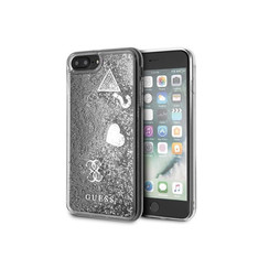Guess backcover hoesje Glitter Apple iPhone 7-8 Plus Zilver - Hearts - TPU