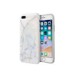 Guess backcover hoesje Marble Collection Apple iPhone 7-8 Plus Wit - Hard Case - TPU