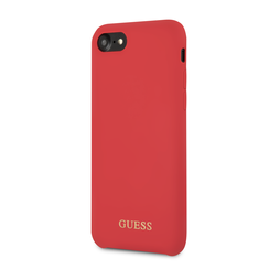 Guess back cover coque Apple iPhone 7-8 Silicone Rouge - Gold Logo