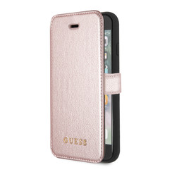 Guess book type housse Apple iPhone 7-8 Iridescent Collection Rose Or - Book Case