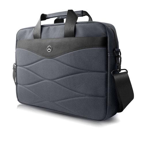 Mercedes-Benz Laptoptas 15 inch Pattern III Mercedes-Benz Universeel Grijs - Carry Bag - Kunstleer