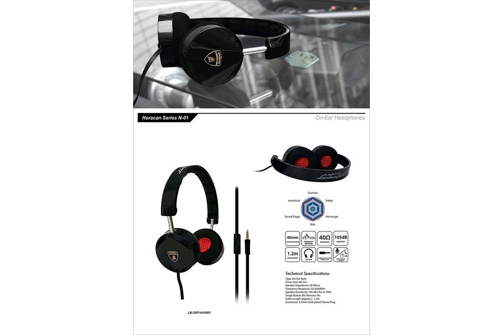 Lamborghini Lamborghini original black headphones - music and calling