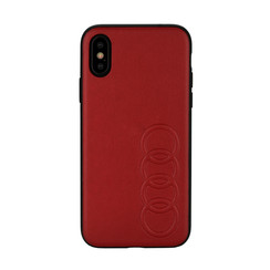 Audi back cover case Apple iPhone Xs Max TT Serie Red - Sythetic leather