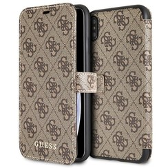 Guess book type housse Apple iPhone XS Max Cardslots Marron - Book Case