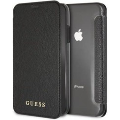 Guess book type housse Apple iPhone XR  Iridescent Collection Noir - Book Case