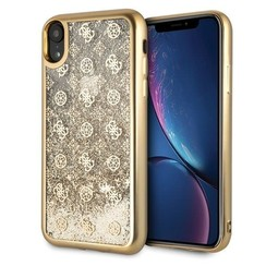 Guess back cover coque Apple iPhone XR Peony Or - Liquid Glitter