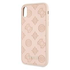 Guess backcover hoesje Debossed Apple iPhone X-Xs Beige - Hard Case - Kunstleer; TPU