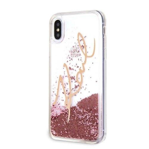 Karl Lagerfeld Karl Lagerfeld backcover hoesje Karl Signature Apple iPhone XS Max Goud - Liquid Glitter - TPU