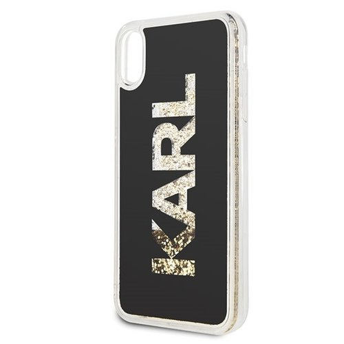 Karl Lagerfeld Karl Lagerfeld backcover hoesje Glitter Apple iPhone XS Max Goud - Good Grip - TPU