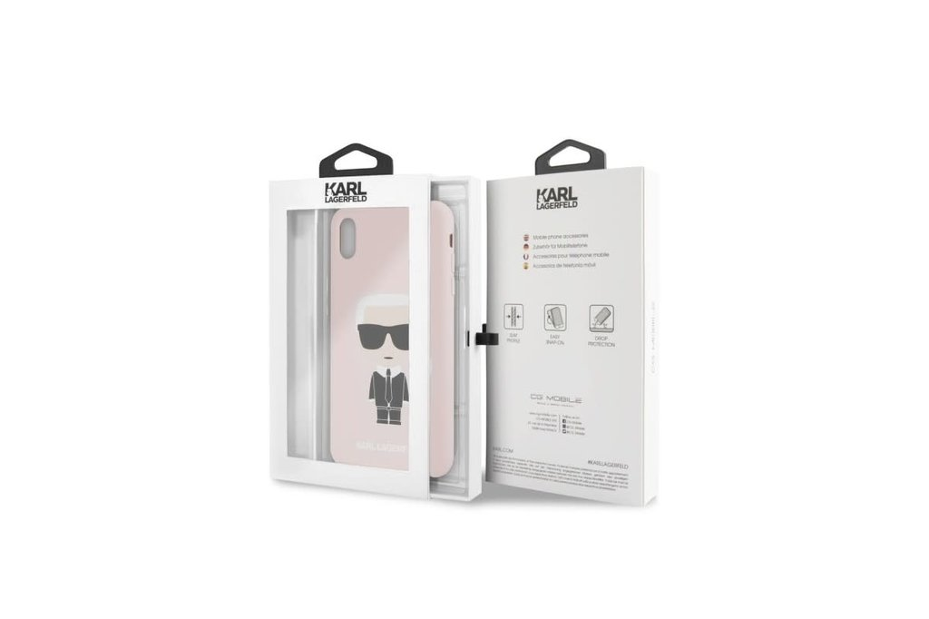 Karl Lagerfeld Karl Lagerfeld back cover coque Apple iPhone XS Max Full Body Rose - Karl Iconic