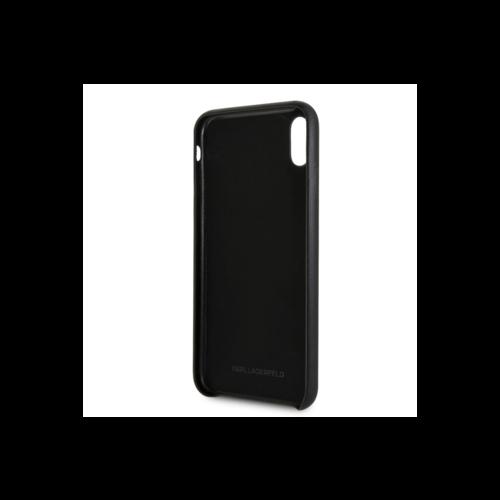 Karl Lagerfeld Karl Lagerfeld backcover hoesje Embossed Apple iPhone XS Max Zwart - Strap - Kunstleer; TPU