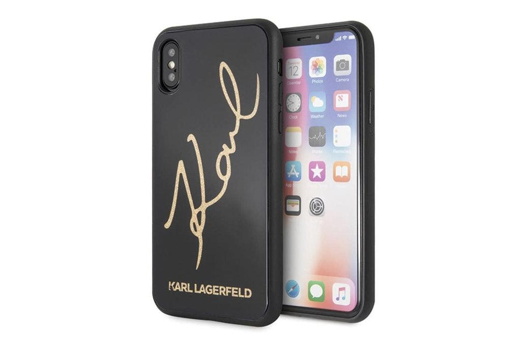 Karl Lagerfeld Karl Lagerfeld backcover hoesje Double Layer Glitter Apple iPhone X-Xs Zwart - Karl Signature - TPU